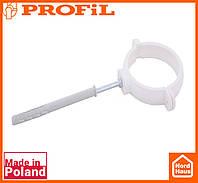 Водосточная пластиковая система PROFIL 130/100 (ПРОФИЛ ВОДОСТОК). Держатель трубы пластик L160 , белого цвета