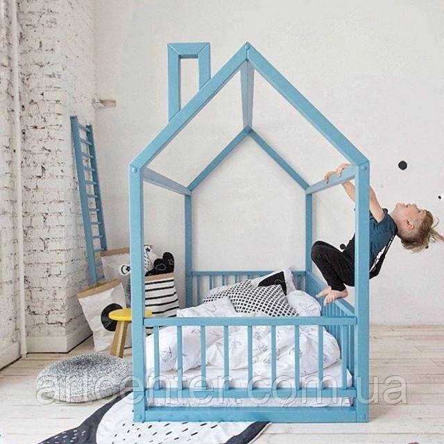Кроватка-домик с крышей, кроватка напольная с бортиками