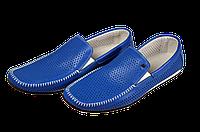 Мужские мокасины кожанные alexandro 14309. синие   летние