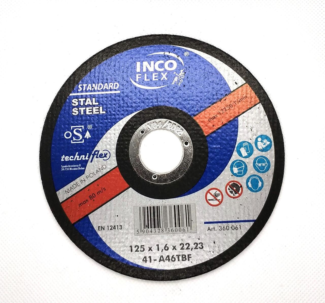 Круг відрізний по металу 125х1,6x22,23мм, A60TBF-41, steel, HARD, IncoFlex (50)