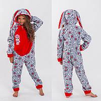 Пижама цельная кигуруми детская для девочки флис с ушами ЛОЛ 6 7 8 9 10  лет розовая серая красная