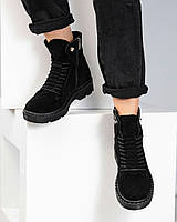 Ботинки женские с декоративной шнуровкой замшевые деми