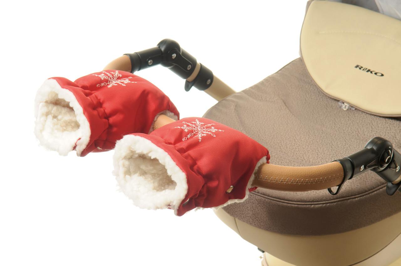 Рукавички-Муфта на коляску Ok Style Снежинка Красный