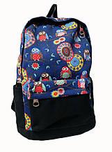 Рюкзак детский школьный Yirui с изображением совят Синий