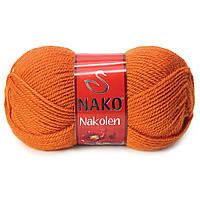 Пряжа Nako Nakolen 6963 терракот (нитки для вязания Нако Наколен) полушерсть 49% шерсть, 51% акрил