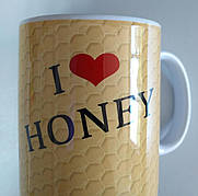 """Чашка подарункова для бджоляра, для любителів меду та пасіки """"Я люблю мед"""""""