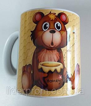 """Чашка подарункова для бджоляра, для любителів меду та пасіки """"Я люблю мед"""", фото 2"""