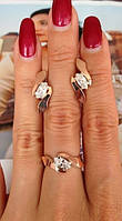 """Комплект """"Розетта"""" серебряный со вставками золота – кольцо и серьги, фото 1"""