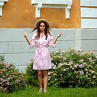 Платье в украинском стиле, цвета пудра
