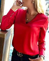 Элегантная женская блузка из шелка Армани с треугольным вырезом горловины