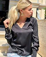 Элегантная женская блузка из шелка Армани с треугольным вырезом горловины, фото 1