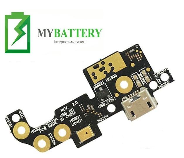 Шлейф (Flat cable) Asus ZenFone Zoom (ZX551ML), с разъемом зарядки, с микрофоном, плата зарядки