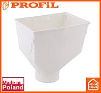 Водосточная пластиковая система PROFIL 130/100 (ПРОФИЛ ВОДОСТОК). Горло желоба , белого цвета