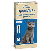 "Капли на холку ""Профілайн"" для кошек до 4кг 1уп.(4 пипетки*0,5мл) (инсектоакарицид)"