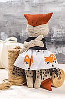 "Мягкая игрушка ручная работа лен высота  30 см ""звірята-хіпстерята"" лисичка оранжевый одежда снимается, фото 1"
