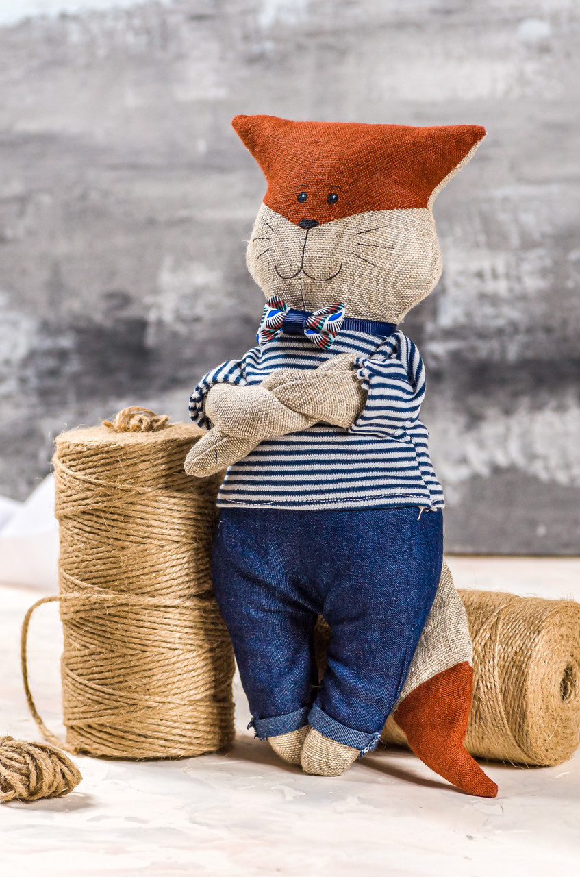 "Мягкая игрушка ручная работа лен лисенок высота: 30 см ""звірята-хіпстерята"" синий одежда снимается"
