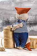 """Мягкая игрушка ручная работа лен лисенок высота: 30 см """"звірята-хіпстерята"""" синий одежда снимается, фото 1"""