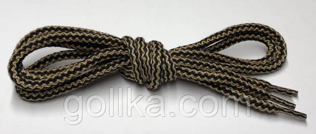 Шнурки круглые бежево-черные