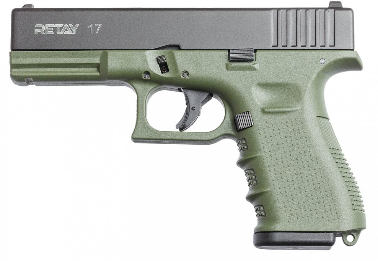 Пистолет стартовый Retay G 17, 9мм. Цвет - olive Glock 17 X314211G