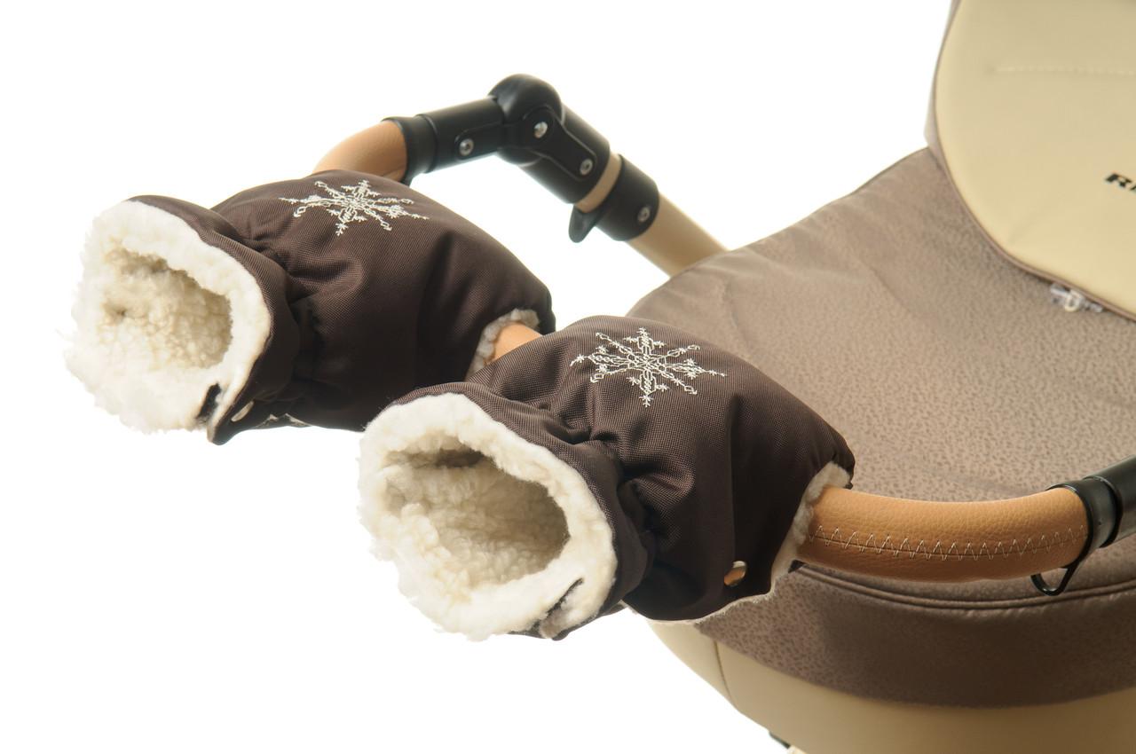 Рукавички-Муфта на коляску Ok Style Снежинка Темно коричневый