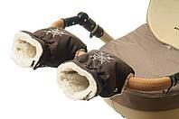Рукавички-Муфта на коляску Ok Style Снежинка Темно коричневый, фото 1