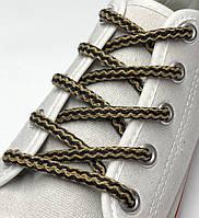 Шнурки простые круглые бежево-черные 100 см (Толщина 5 мм), фото 1