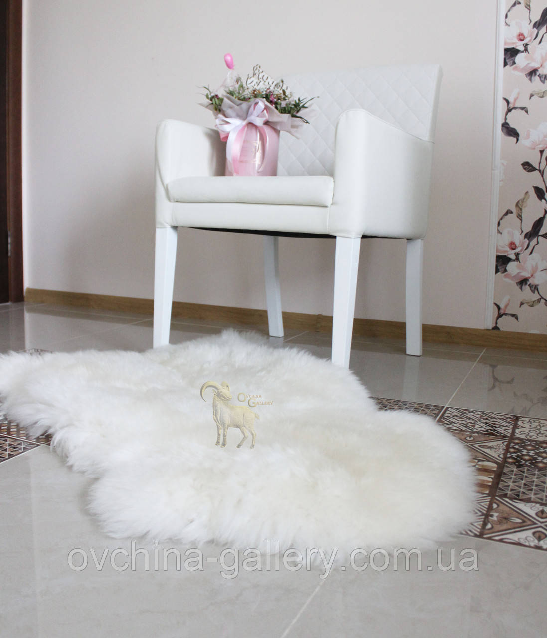 Шкура овечья, белая 120х80