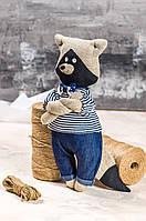 """Мягкая игрушка ручная работа лен енот высота 29 см """"звірята-хіпстерята"""" єнот синий одежда снимается, фото 1"""