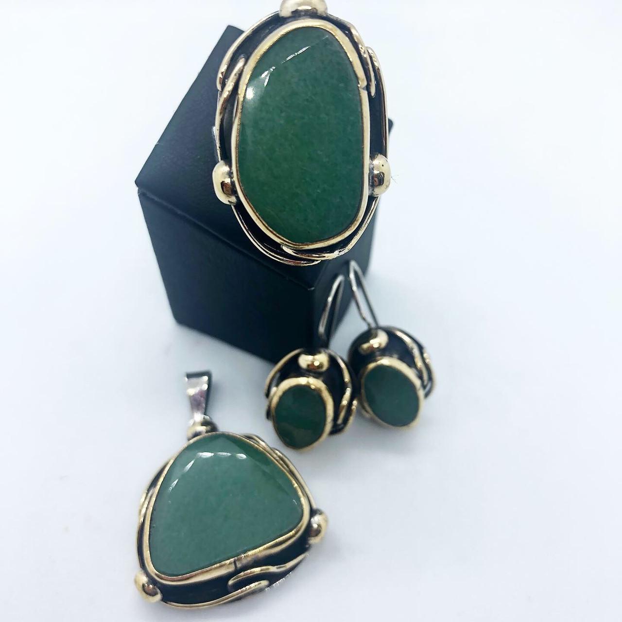 Набір прикрас кільце сережки і кулон з срібла 925 My Jewels з малахітом (розм.19.5 - 20 мм)