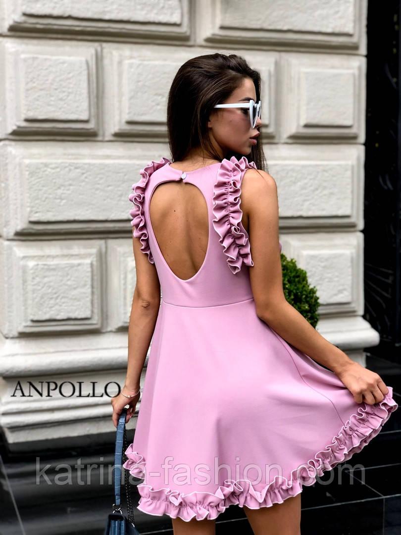 Женское легкое нежное платье с рюшами и вырезом на спине (в расцветках)