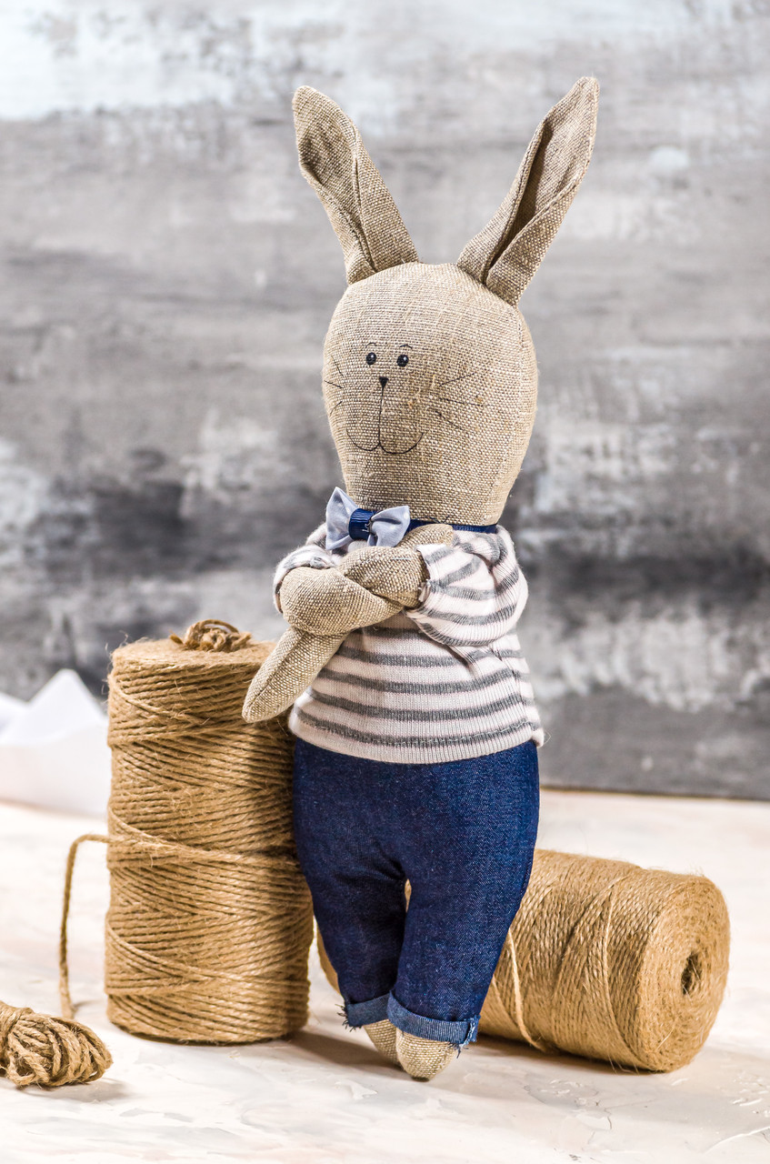 """Мягкая игрушка ручная работа лен заяц высота 33 см  """"звірята-хіпстерята""""заєць синий одежда снимается"""