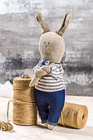 "Мягкая игрушка ручная работа лен заяц высота 33 см  ""звірята-хіпстерята""заєць синий одежда снимается, фото 1"