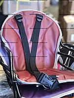 Бордовое Велокресло детское на прямую раму, металлическая основа, фото 1