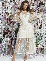 Платье в пол из вышитого гипюра с воланами
