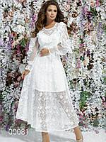Платье на свадьбу из вышитого гипюра с подкладкой, 00081 (Белый), Размер 42 (S)