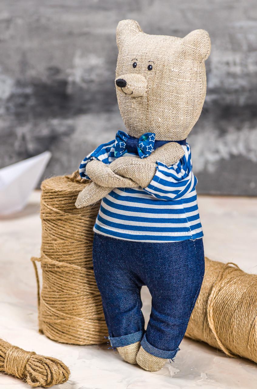 "Мягкая игрушка ручная работа лен мишка синий высота 27 см ""звірята-хіпстерята"" ведмідь  одежда снимается"