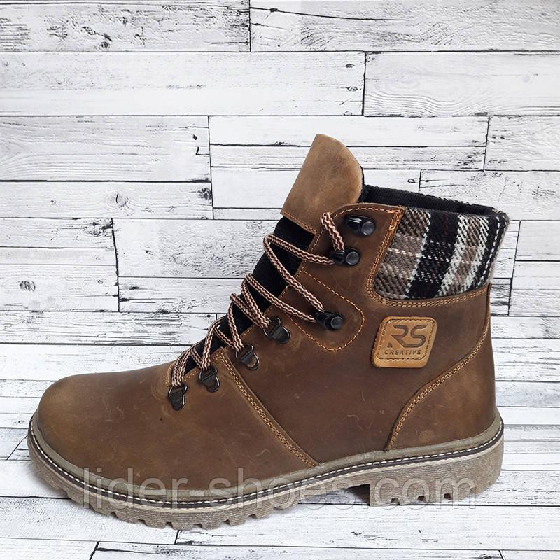 Зимние мужские ботинки коричневого цвета реплика