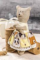 """Мягкая игрушка ручная работа лен """"звірята-хіпстерята"""" ведмедиця мишка подарок, фото 1"""