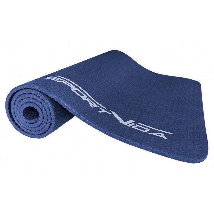 Коврик для тренировок текстурированный SportVida NBR, 180*60 мм,  толщина -1 см, цвет - синий