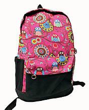 Рюкзак детский школьный Yirui с изображением совят Розовый