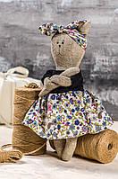 """Мягкая игрушка ручная работа лен кошка сиренивый Высота: 28 см """"звірята-хіпстерята"""" киця подарок , фото 1"""