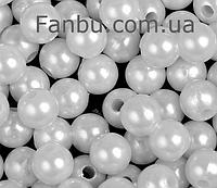 Пластиковые бусины d 11-12мм ,цвет белый(1 упаковка 50 бусин), фото 1