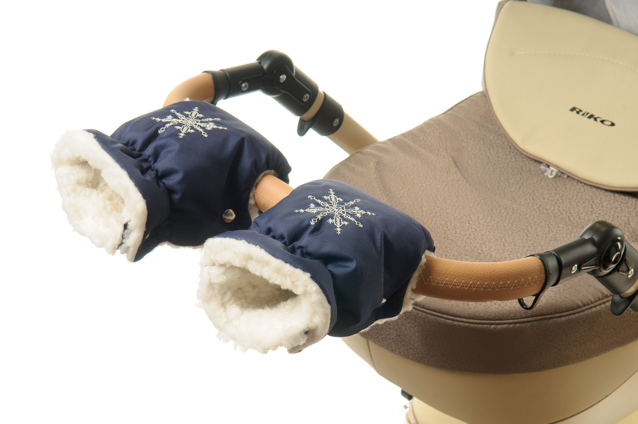 Рукавички-Муфта на коляску Ok Style Снежинка Темно синий