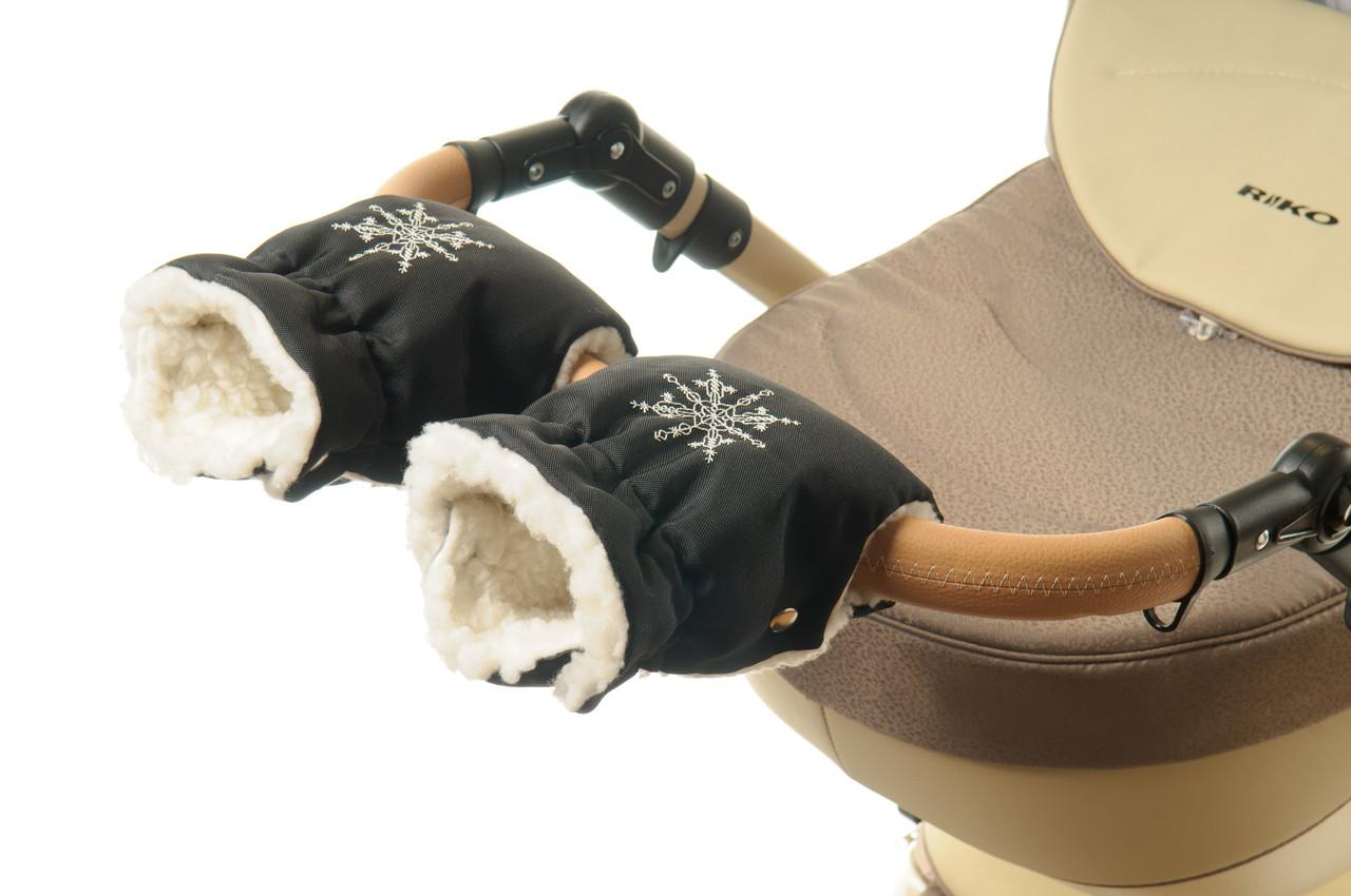 Рукавички-Муфта на коляску Ok Style Снежинка Черный