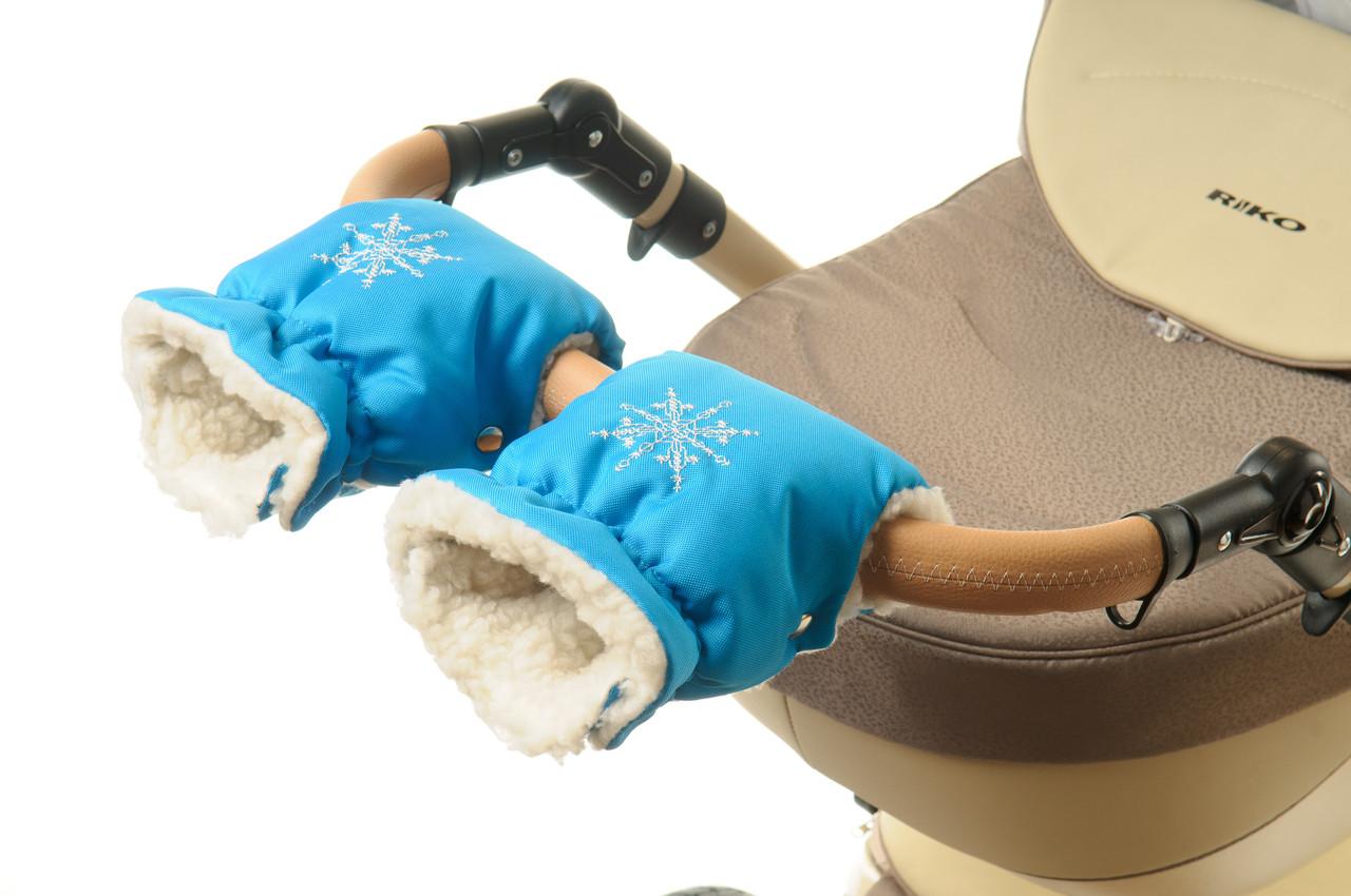 Рукавички-Муфта на коляску Ok Style Снежинка Бирюзовый