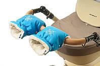 Рукавички-Муфта на коляску Ok Style Снежинка Бирюзовый, фото 1
