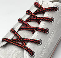 Шнурки простые круглые красно-черные 100 см (Толщина 5 мм), фото 1