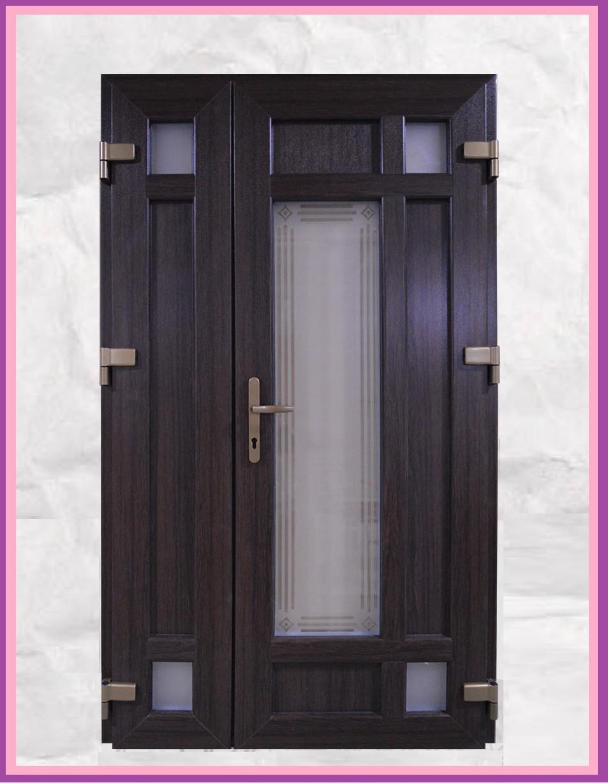 Двери входные металлопластиковые 1200 с окном и ковкой