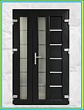 Двери входные металлопластиковые 1200 с окном и ковкой, фото 2