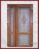 Двери входные металлопластиковые 1200 с окном и ковкой, фото 3